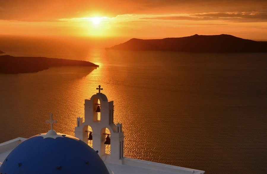 Sunset in Santorini island