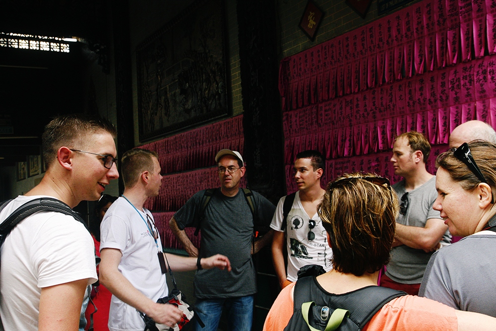 International tourists visit thien hau pagoda ho chi minh city vietnam