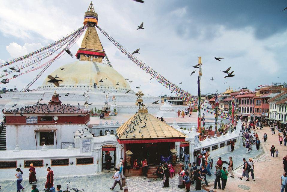 Early Morning at Nepal's Boudhanath Stupa.