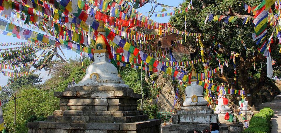 Stupas and prayer flags at Swayambhunath (Monkey Temple) in Kathmandu, Nepal