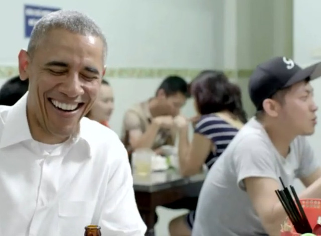 Obama anthony bourdain dines bun cha noodles at huong lien in hanoi vietnam