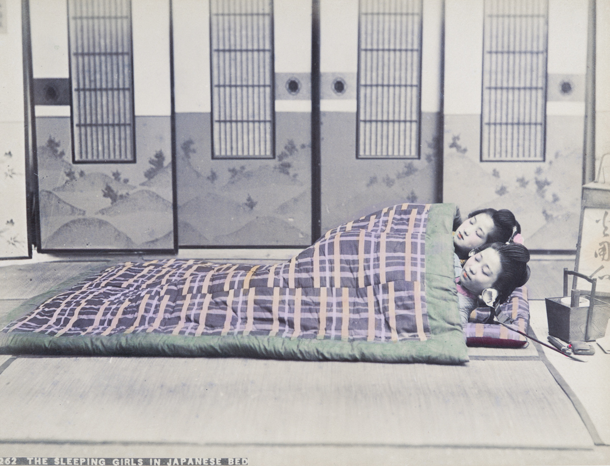 The Sleeping Girls in Japanese Bed - Image by New York Public Library