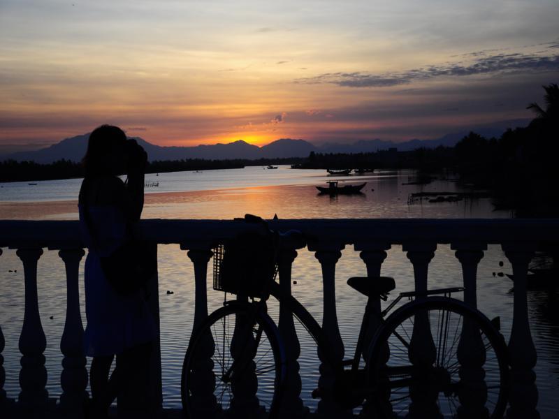 sunset on thu bon river hoi an vietnam