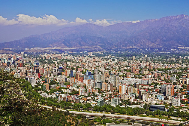 View of Santiago city from Cerro San Cristobal
