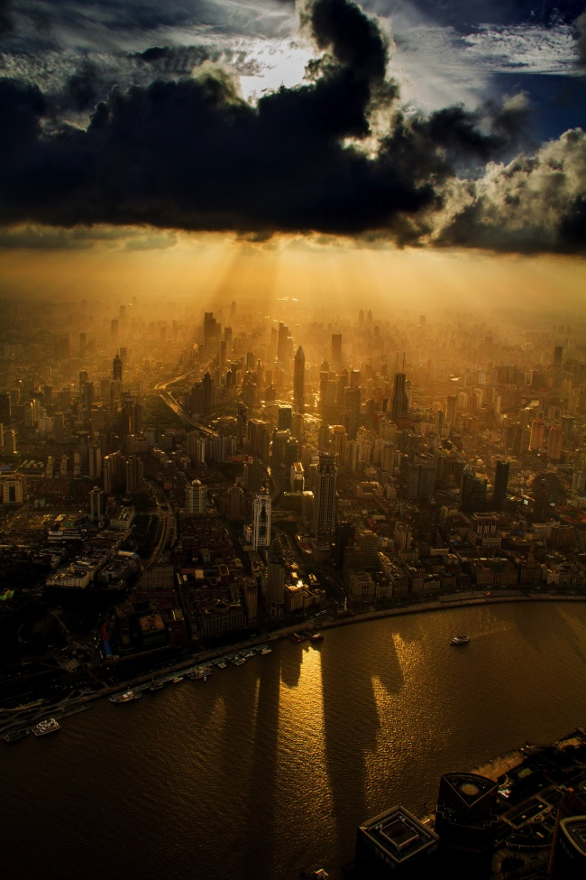 A crane operator captured Shanghai from above