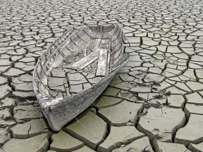 An old boat at the bottom of a drained channel in the Czech Republic.