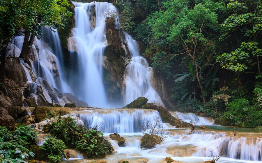 Kuang Si waterfall of Laos tourist destinations