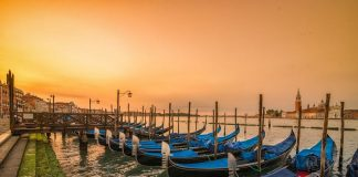 Sunrise over the Gondolas on St Marks