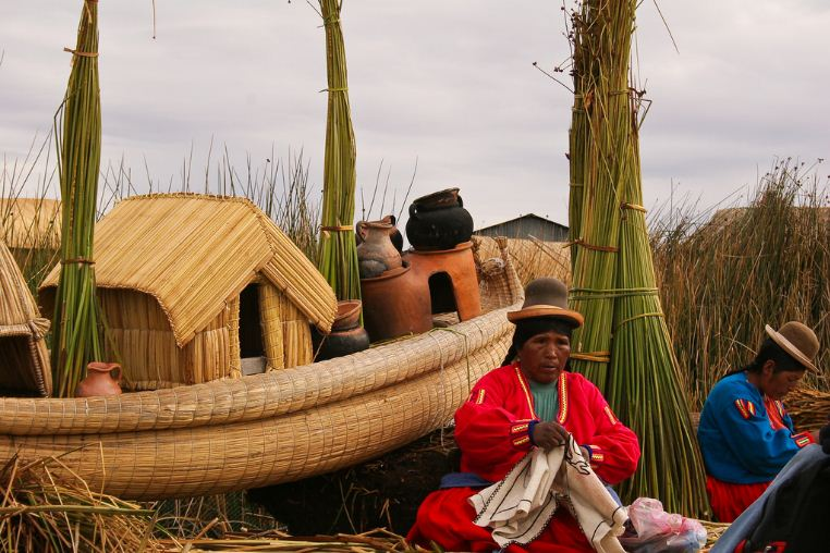 uros people on floating houses titicaca lake