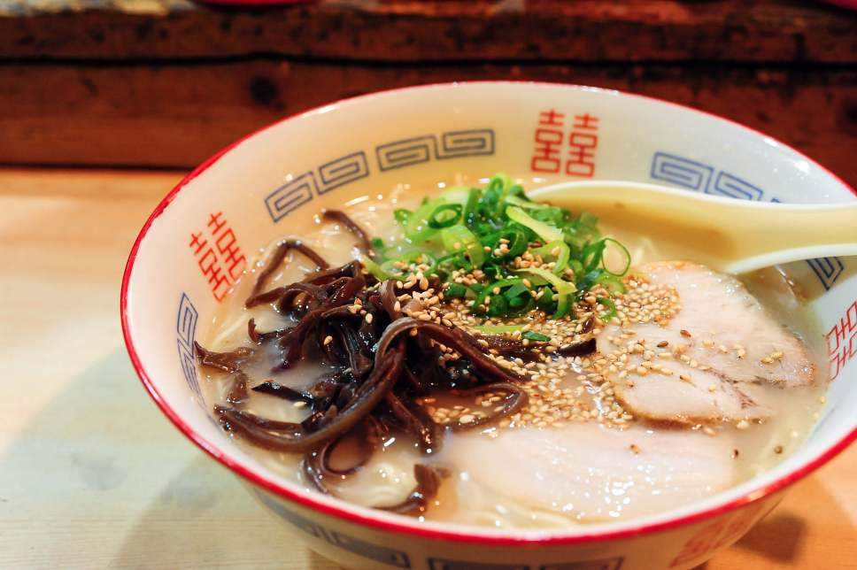 Tonkotsu ramen, one of the most famous foods in Fukuoka, Japan