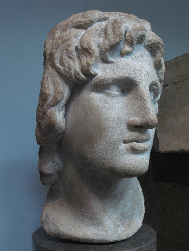 Bust of Alexander the Great in his classic head tilt pose from The British Museum