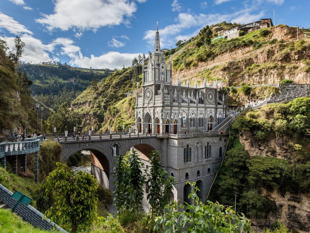 Las Lajas Sanctuary in Narino, Colombia, architectural masterpieces