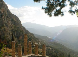 The Temple of Delphi under the shadow of Mount Parnassus