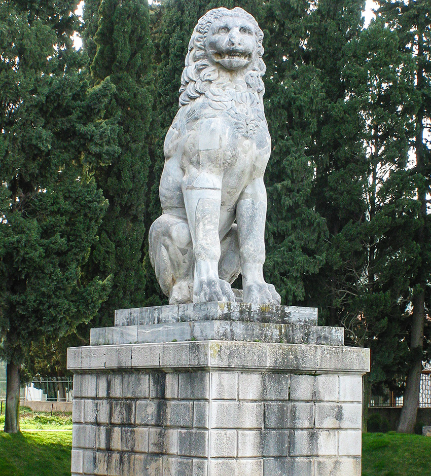 The colossal stone lion marking the burial of the Sacred Theban Band