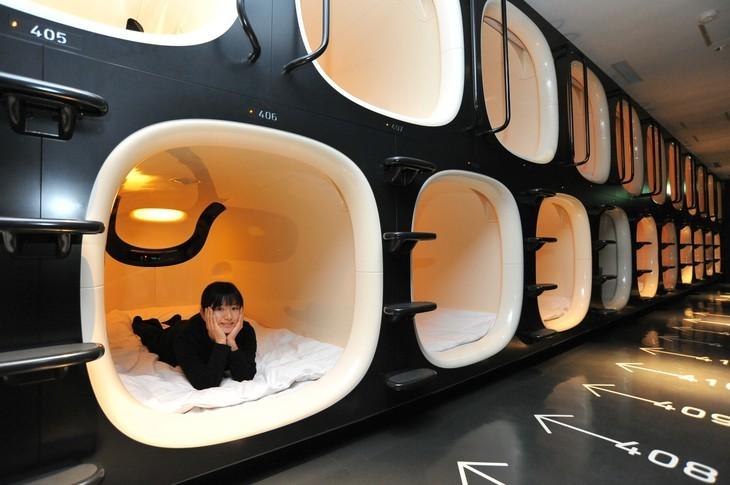 capsule hotel, tokyo, japan