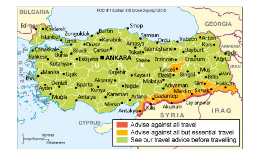 color-coded map, areas to avoid, Turkey, Travel alerts, travel warnings