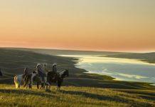 horseback riding South Saskatchewan river
