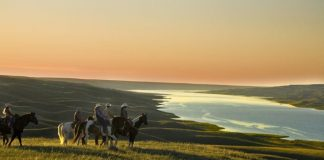horseback riding South Saskatchewan river