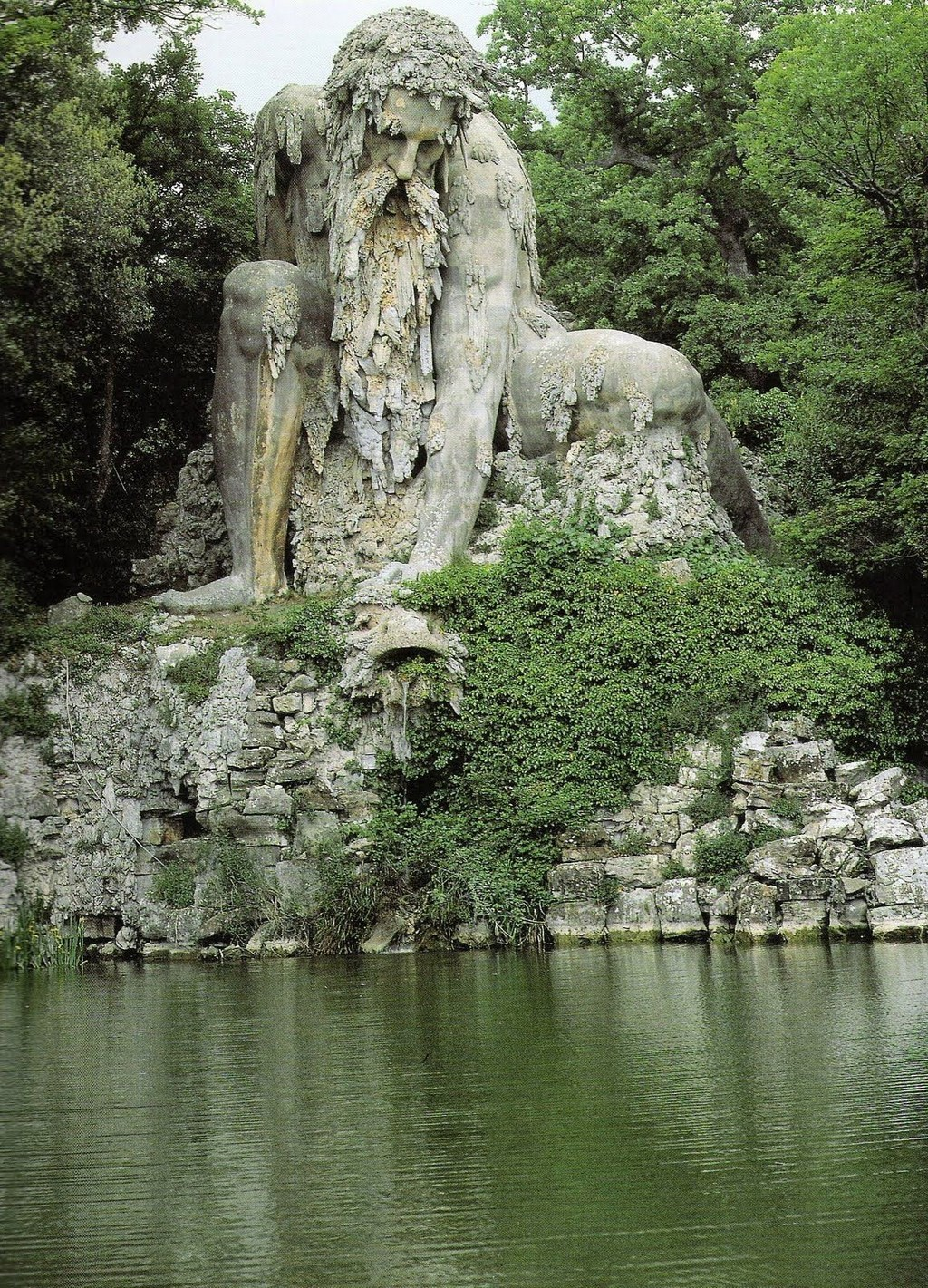 Colossus statue-half-people and moutain-italy