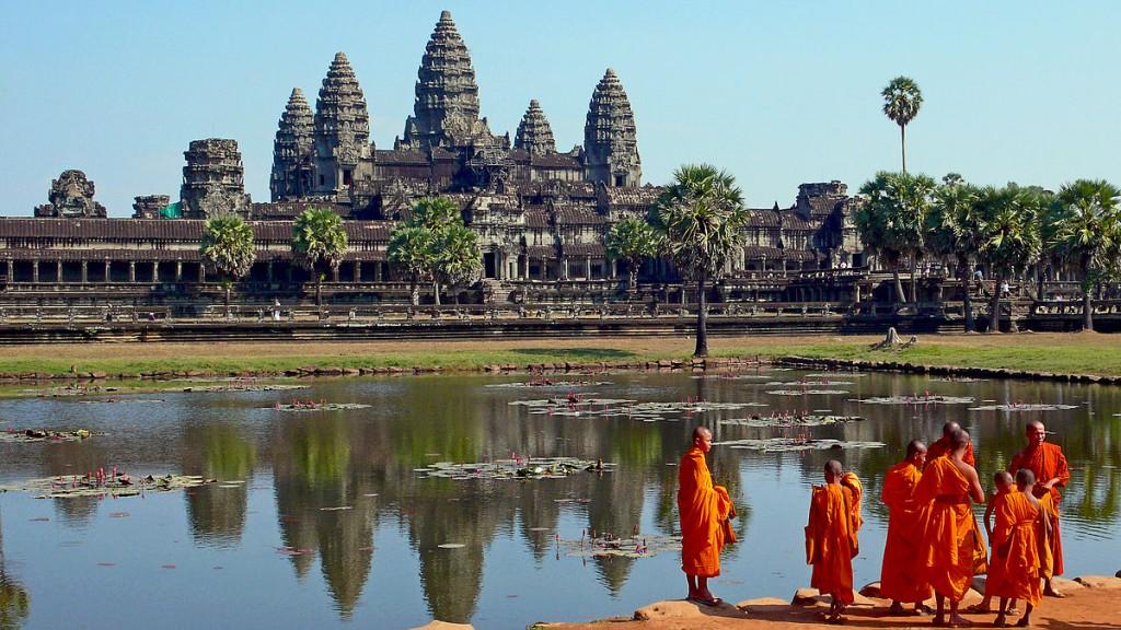 Monks at Angkor Wat temple