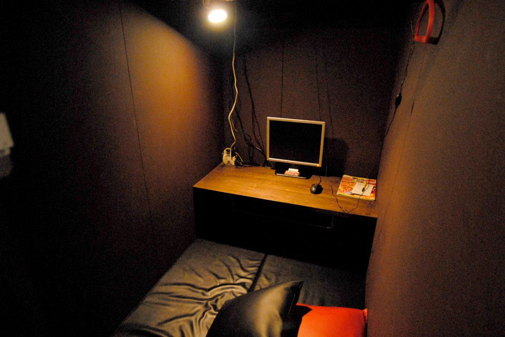 Individual rooms like this one in an Internet cafe in Warabi
