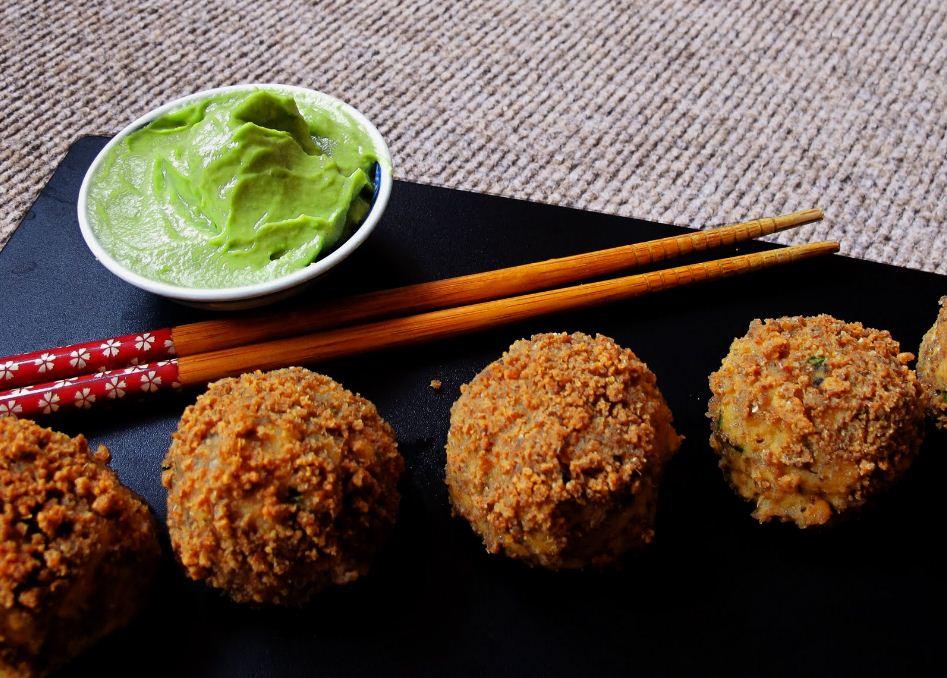 Salmon Korokke (Croquette) Balls with Wasabi Avocado-naise