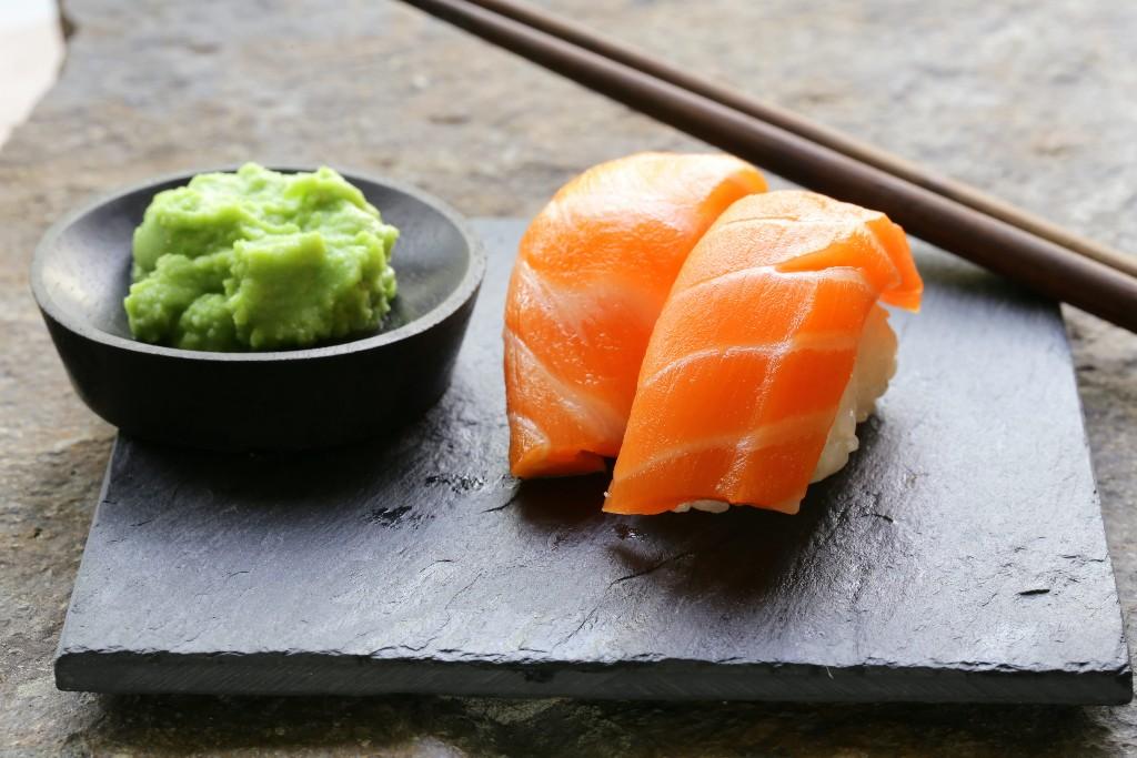Sushi & Sashimi served with Wasabi