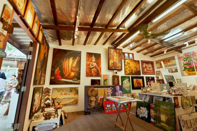 Inside the gallery room in Hua Hin Artist Village
