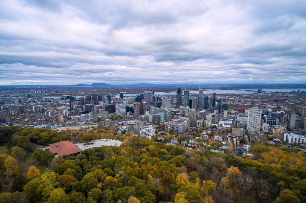 Montreal from above Mont Royal. Image of Montreal travel blog