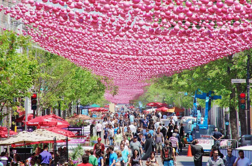 Pink Balls at montreal ste catherine street 2