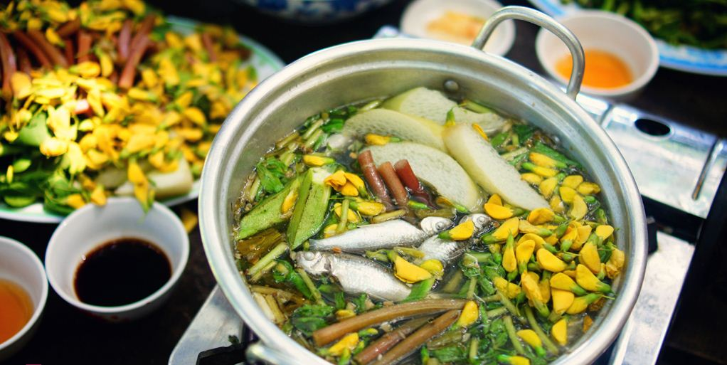 hot pot an giang dien dien flower and linh fish