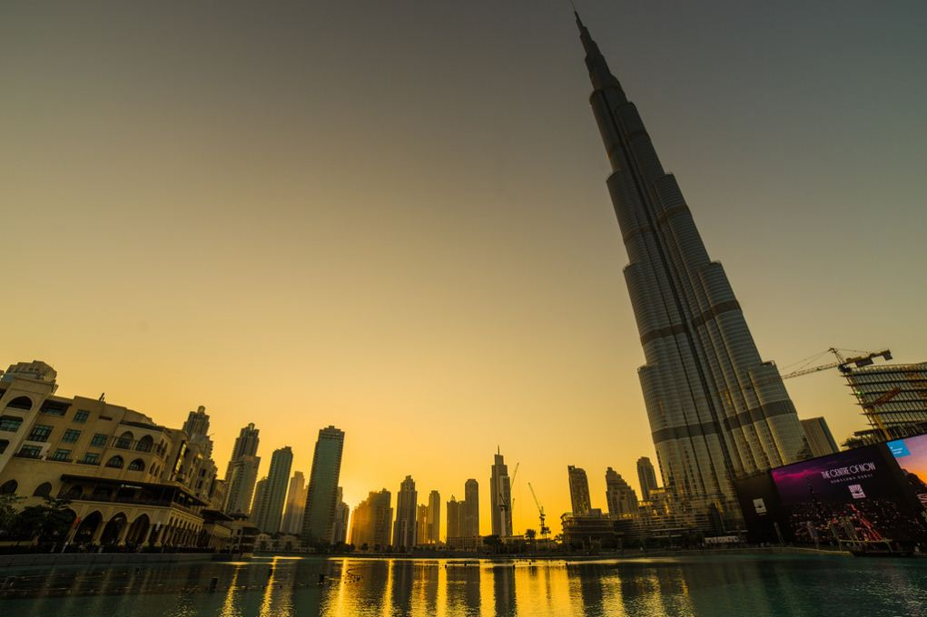 Burji Khalifa tower at sunset. dubai travel blog