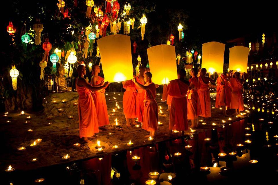 Monks pray in Loy Krathong Festival, Chiang Mai