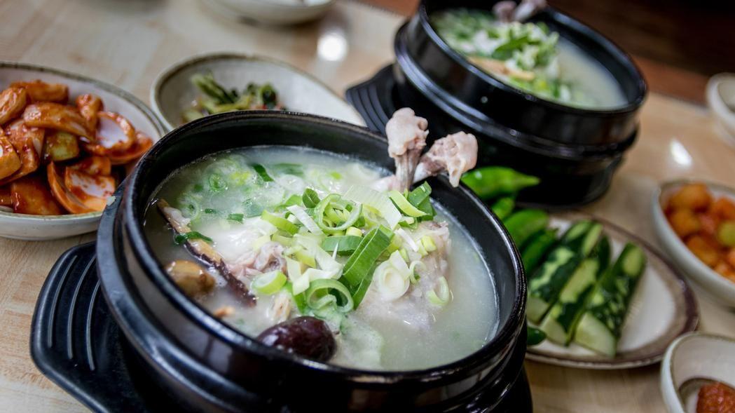 Samgyetang soup, typical type of Korean soups