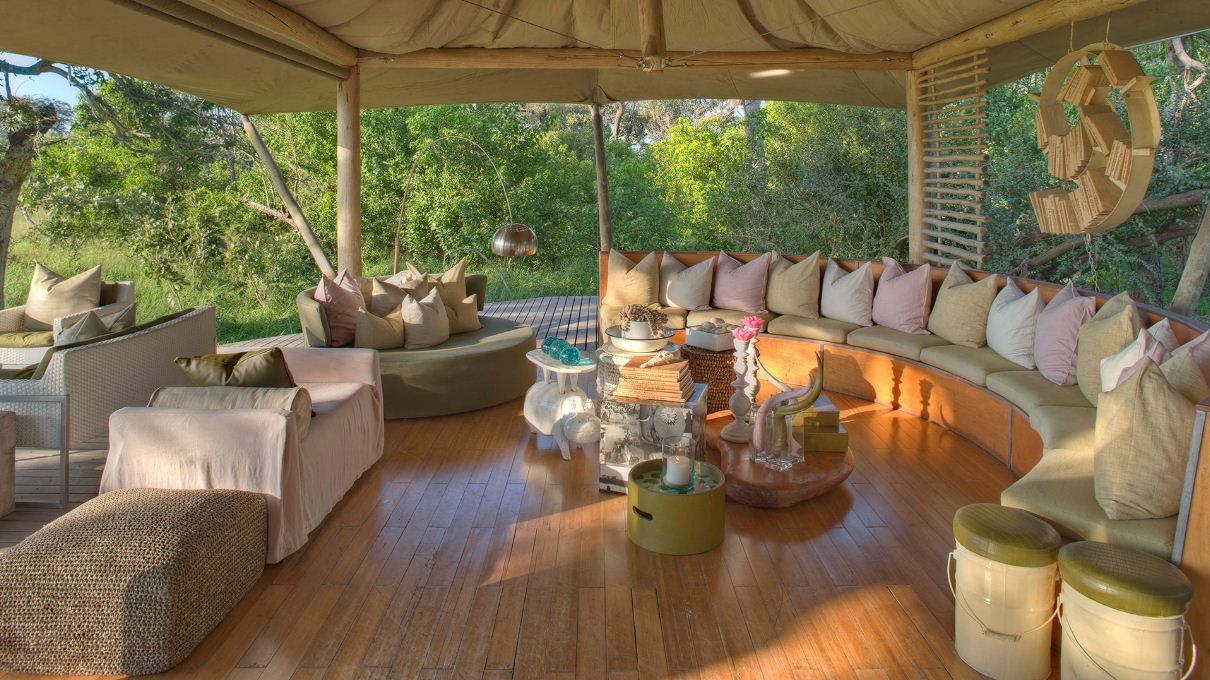 Cool light airy guest area at andBeyond Xaranna Okavango Delta Camp on a luxury Botswana safari