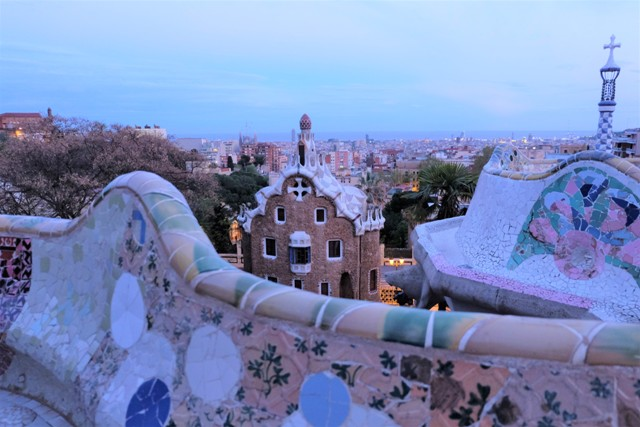 Sunset at Park Guell. Image of Barcelona travel blog.