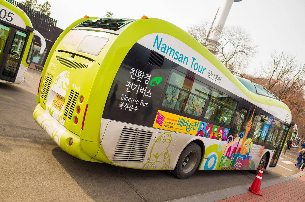 The bus to the N Seoul Tower can be easily identified with a mountain-shaped windshield
