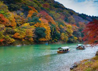Boat riding on Hozu-gawa river, Kyoto.