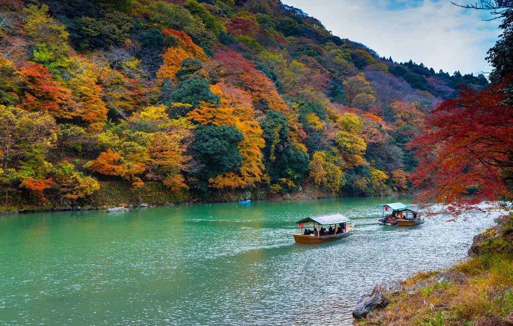 Boat riding on Hozu-gawa river, Kyoto.