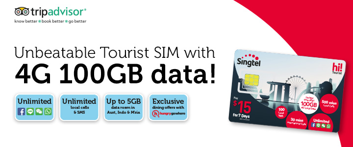 Enjoy 4G 100GB local data, unlimited social messaging, calls and SMS with Singtel hi!Tourist SIM cards. All on a blazing-fast 4G network.