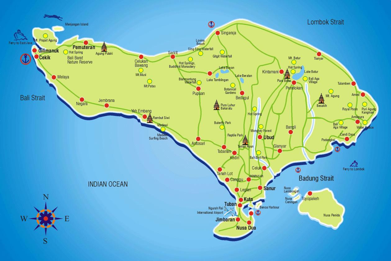bali tourist map bali one day tour