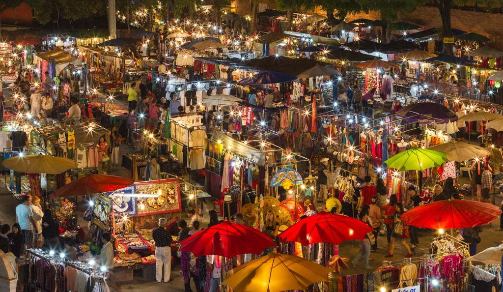 Night Bazaar night market chiangmai thailand