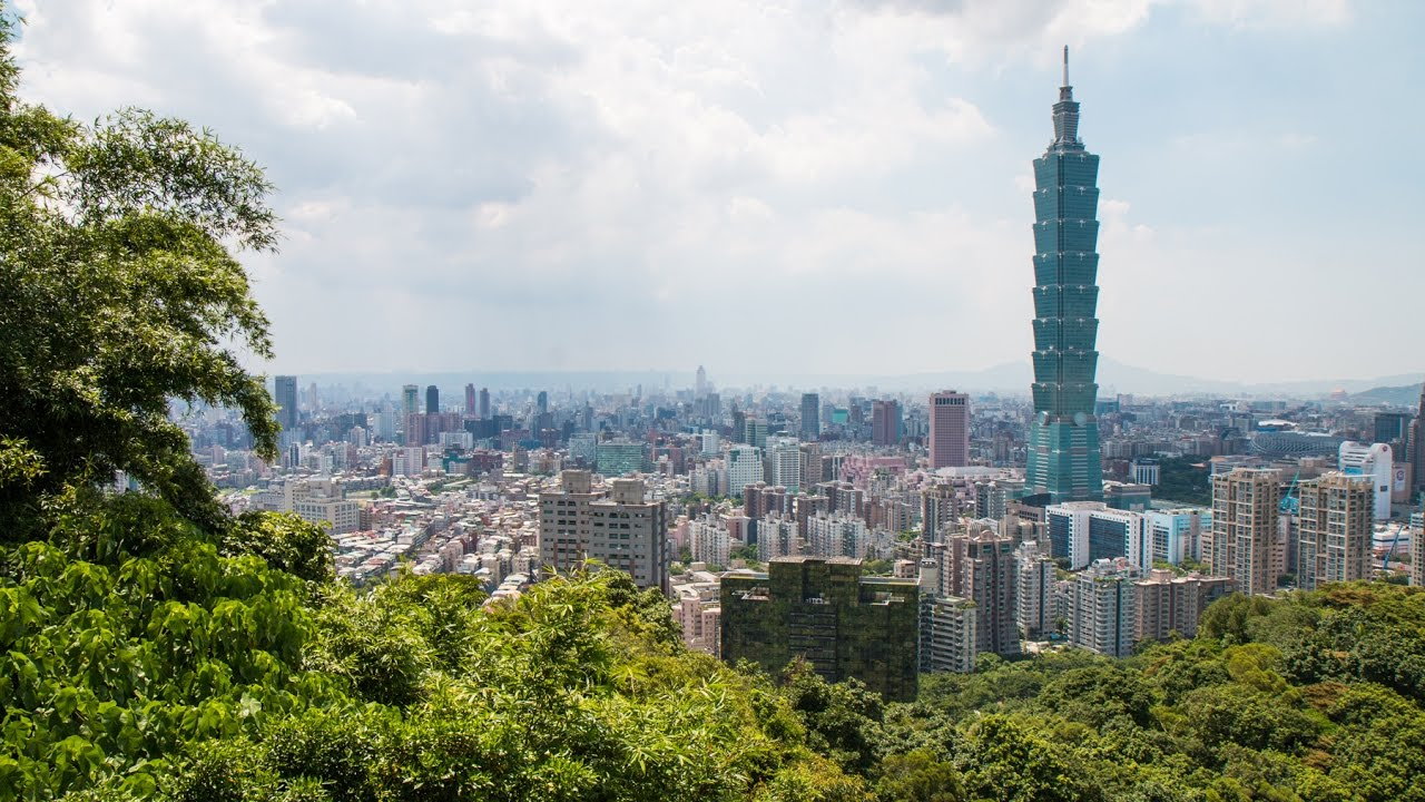 taipei 101 seen from elephant mount