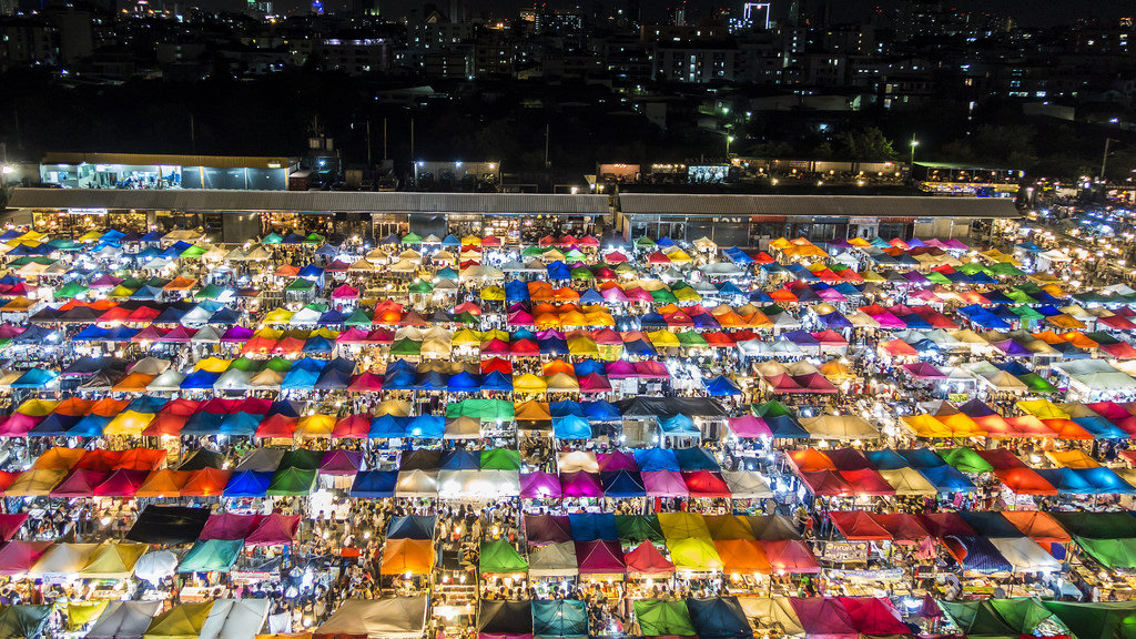 Rod Fai Night Market or Ratchada Train Night Market - One of the most attrative night markets in Bangkok, Thailand.