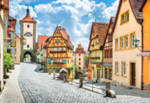 Beautiful postcard view of the famous historic town of Rothenburg ob der Tauber on a sunny