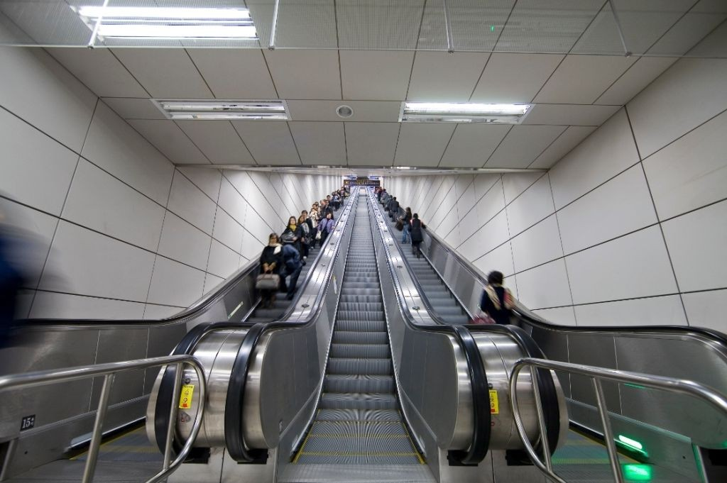 Escalators at Metro Line 9, Seoul, Korea