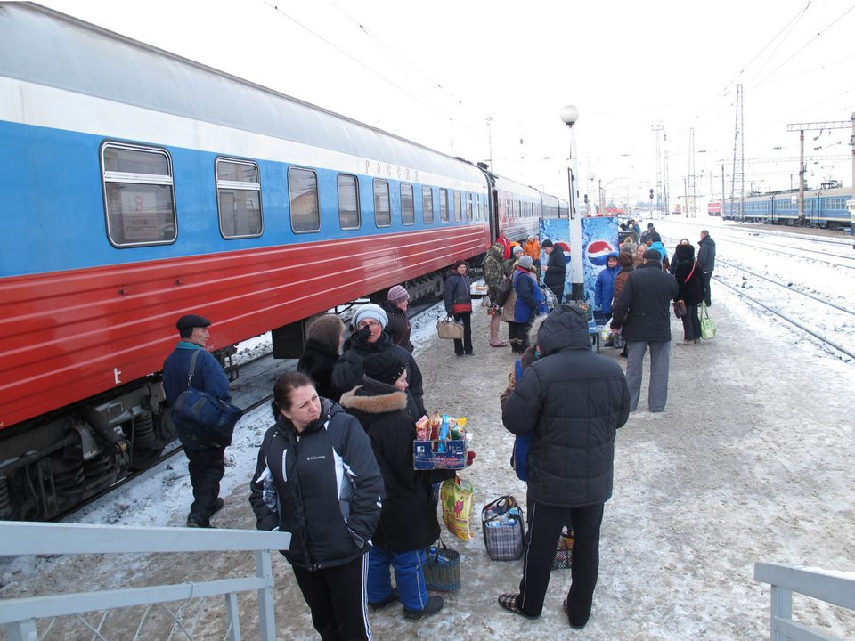 Boarding the train for the Trans-Siberian Railway