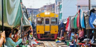 Maeklong Railway Market in Thailand