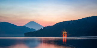 Lake Ashi (Ashinoko Lake). One of the most beautiful lakes in Hakone, Japan.