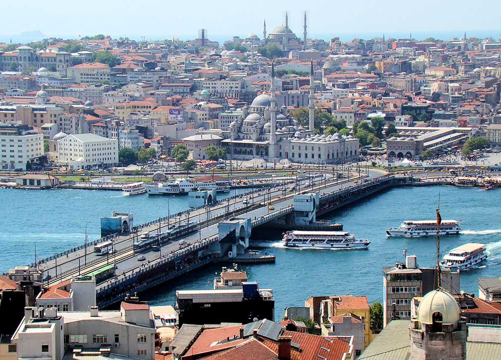 Galata Bridge Istanbul with Yeni Cami mosque, view from Galata Tower